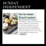 set in stone, personalised gift Ireland, sunday independent, cheese board, Irish made, Slated, Irish cheese board, personalised cheese board,