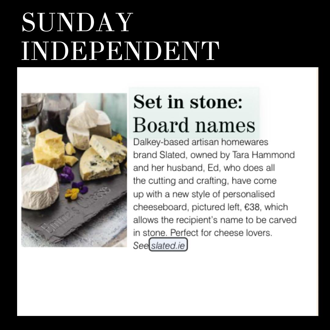 set in stone, personalised gift Ireland, sunday independent, cheese board, Irish made, Slated, Irish cheese board, personalised cheese board,